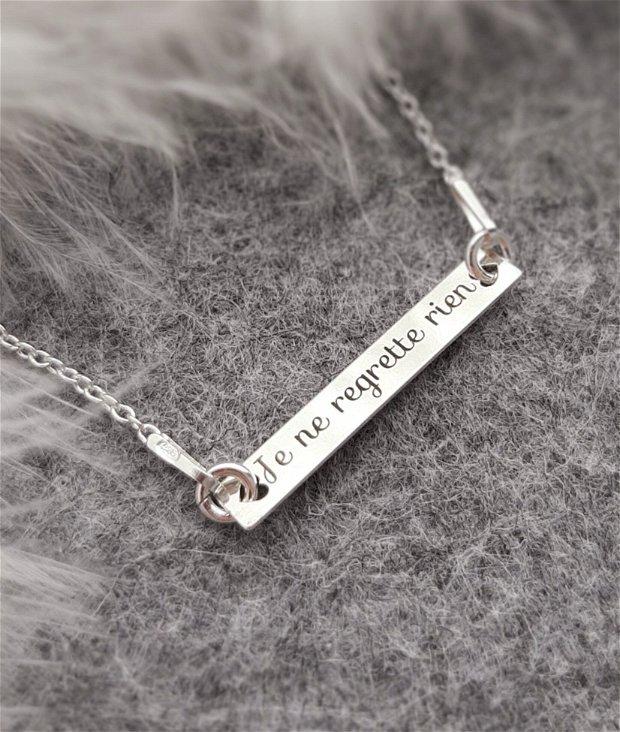 Colier argint cu plăcuță gravată cu mesaj personalizat ÉDITH PIAF