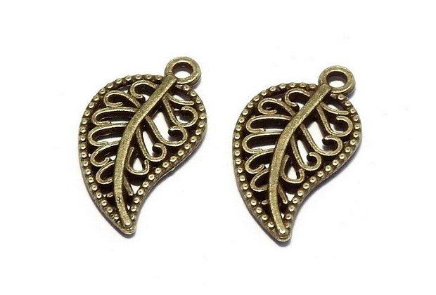 Pandantiv / charm metalic, bronz, frunza, 18x10 mm