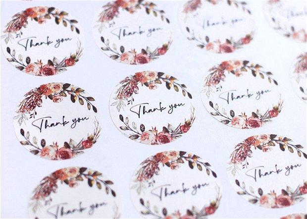 Stickere - Kraft / albe - Floral - Thank you - personalizabile