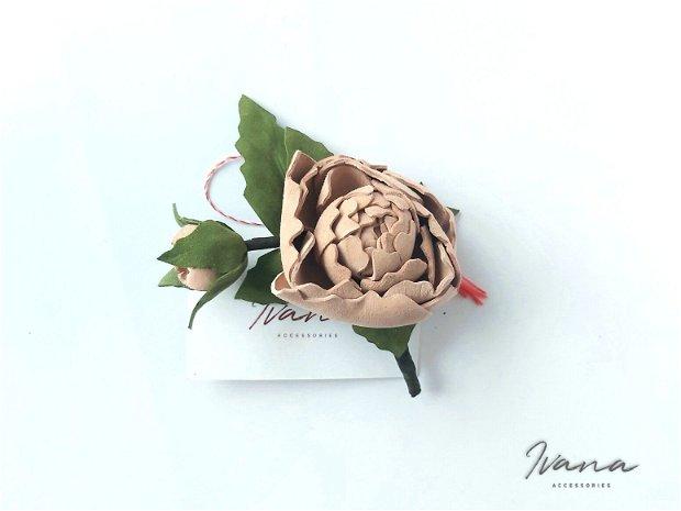 Mărțișor piele Trandafir roz prafuit