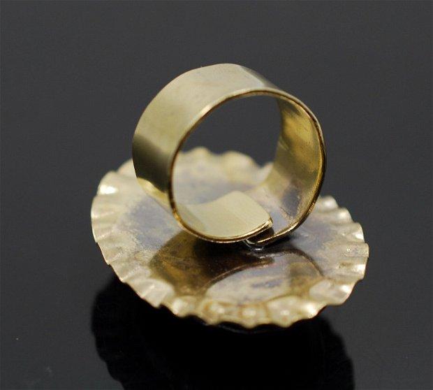 Inel reglabil alama şi agata, inel oval, inel mare