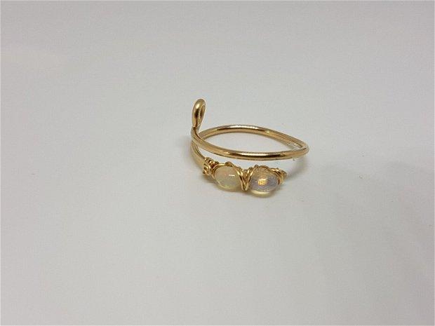inel din aur filat , inel reglabil , inel handmade