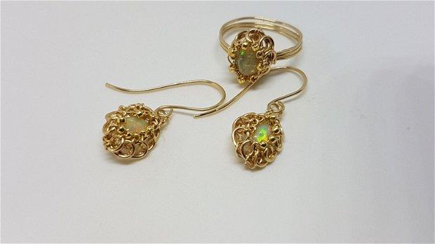 Cercei din aur filat , cercei cu opal etiopian,cercei handmade