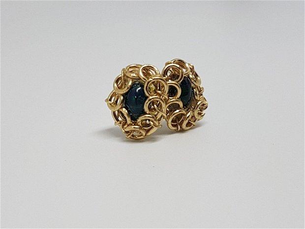 Cercei din aur filat , cercei cu opal etiopian negru,cercei handmade.