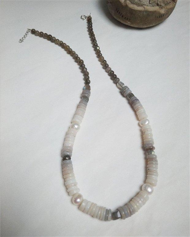 Colier Opal Australian cu Perle și Labradorit