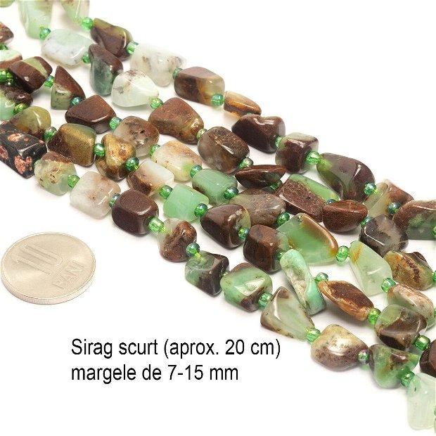 Crisopraz / Jad Australian sirag scurt, freeform, margele aprox. 7-15 mm