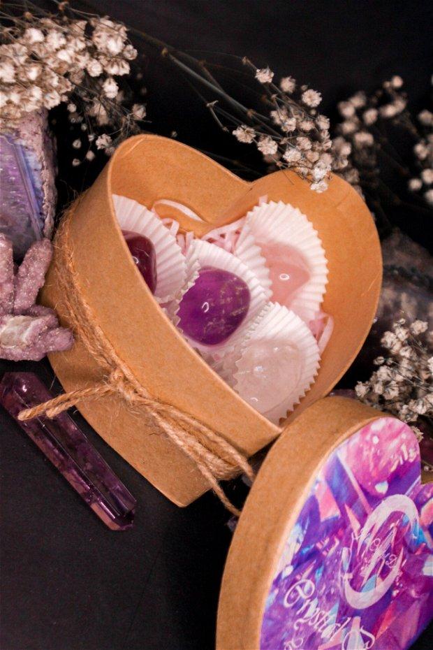 Cutie Cadou cu Cristale Naturale Crystal Heart Box Cutie de Praline cu  in forma de Inima, Cadou pentru Ea El