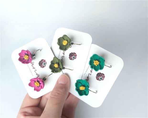 Cercei floare verde ciclame