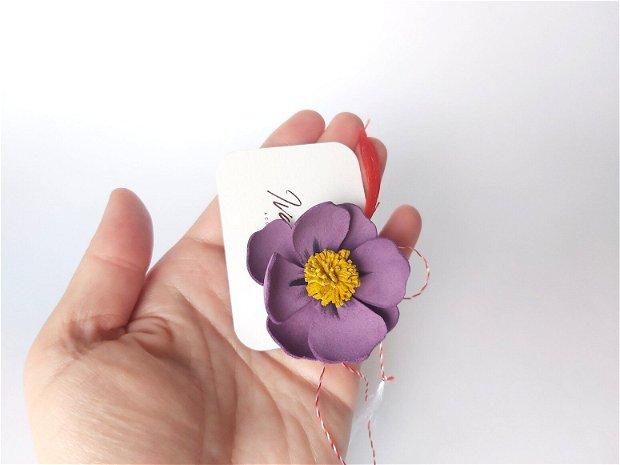 Mărțișor piele floare mov