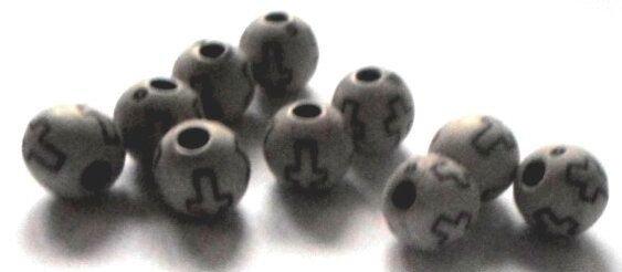 Margele plastice crem cu cruciulita 10 mm