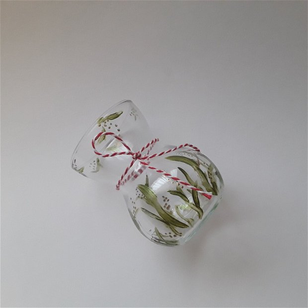 Vaza decorativa din sticla pictata manual primavara