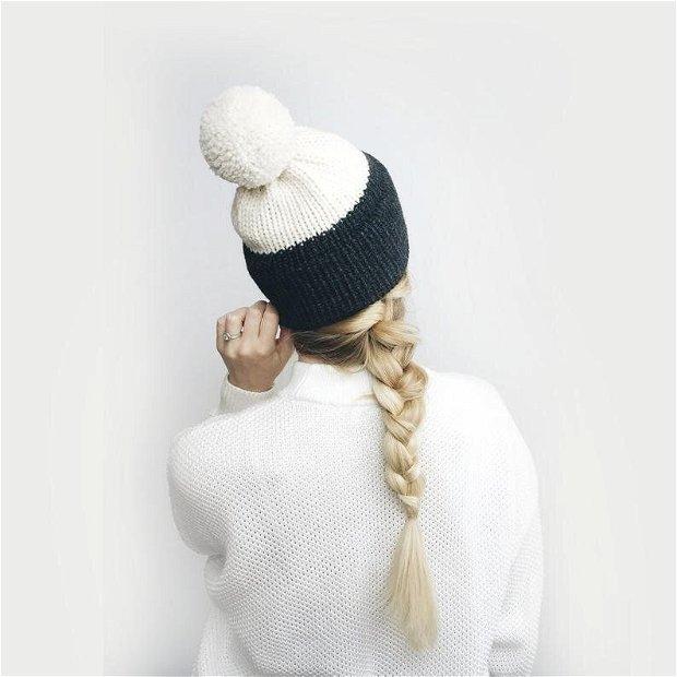 Caciula cu ciucure, tricotata
