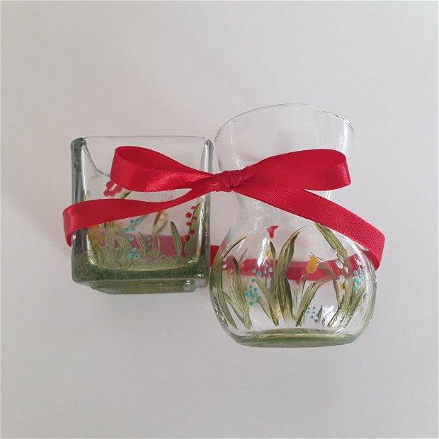 Set cadou șuport de lumanare si vaza pentru ghiocei