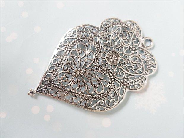 Pandantiv inima, cu filigran, nuanță argint antic