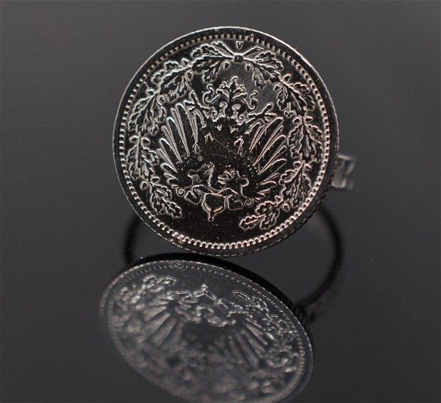 Inel din argint, din moneda 1/2 marci, din colectia Reversul monedei
