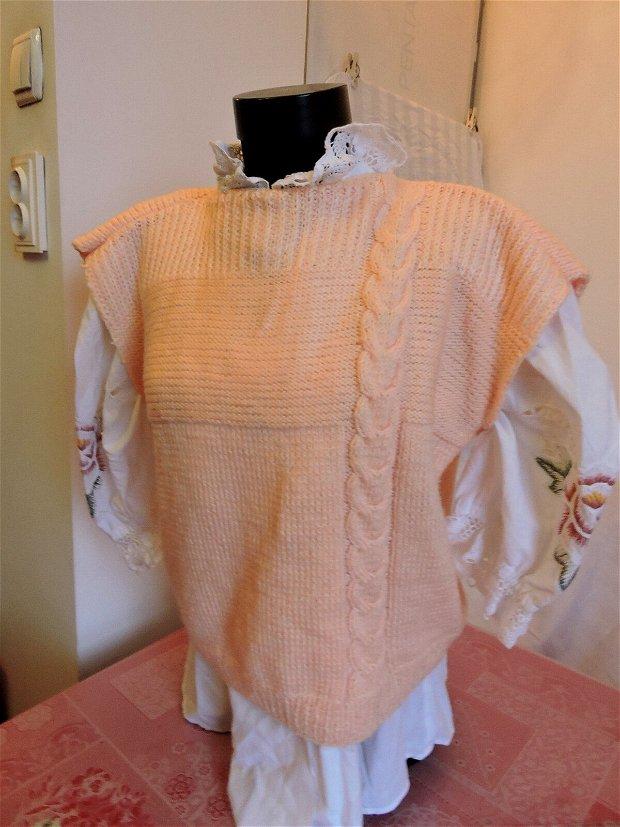 vesta bluza somon tricotata manual cu torsada unicat