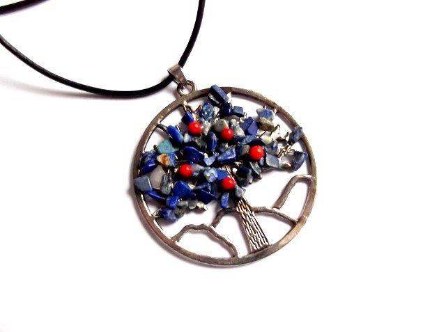 colier arborele vietii cu lapis lazuli si coral 38033