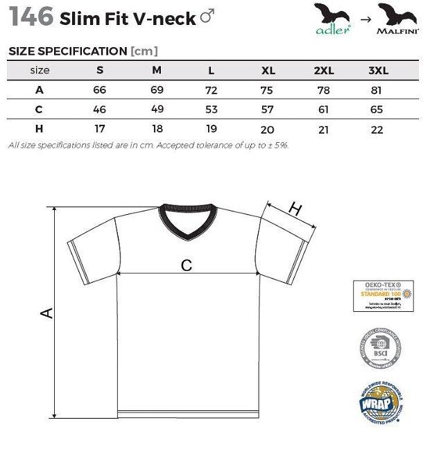 Tricou 3XL Bleumarin pentru barbati SLIM FIT V-NECK