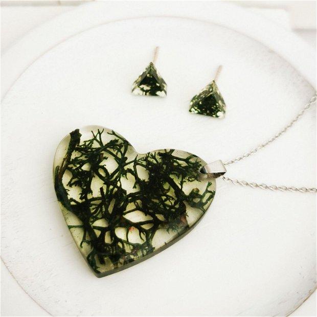 """Set de bijuterii din argint cu licheni naturali """"Iubire pura!"""""""