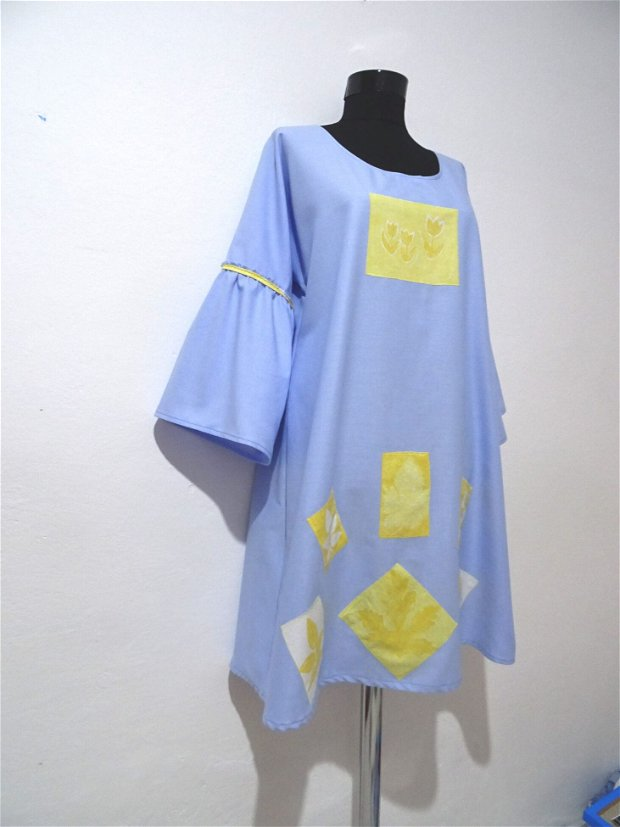 Rochie din bumbac-Yellow on The Blue Sky