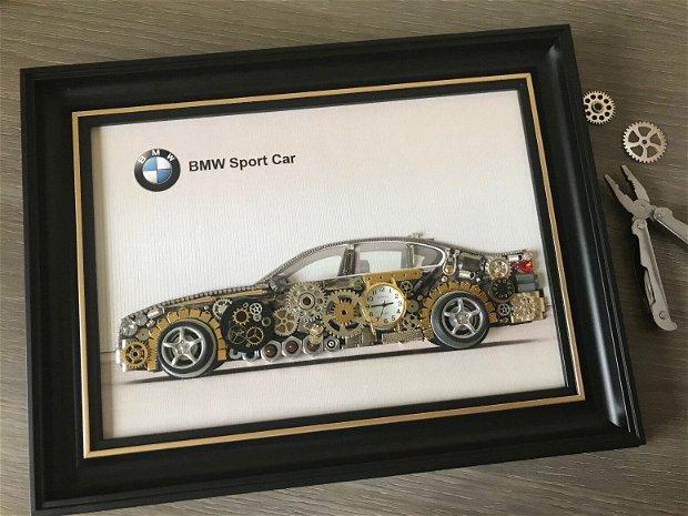 Masina model BMW Cod M 492, Cadouri masini, Cadou personalizat, Tablou steampunk mecanism ceas