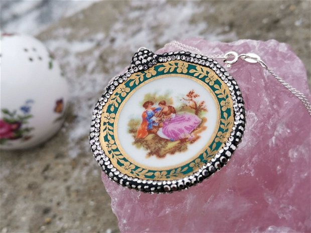 Colier argint & medalion Fragonard