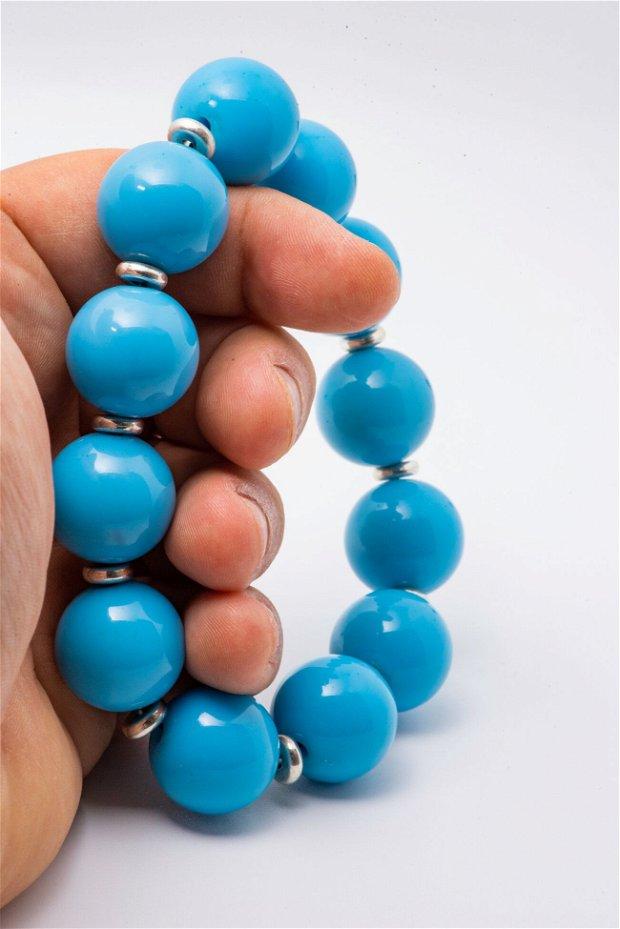 Matanie de mana bile mari 16 mm din plastic colorat albastru si discuri din inox