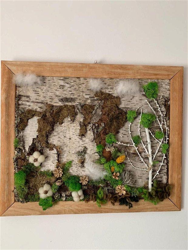 Tablou natura vie III- tablou cu scoarța mesteacan, licheni, conuri