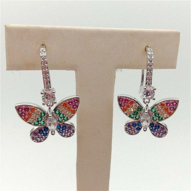 Cercei butterfly zirconia cubic