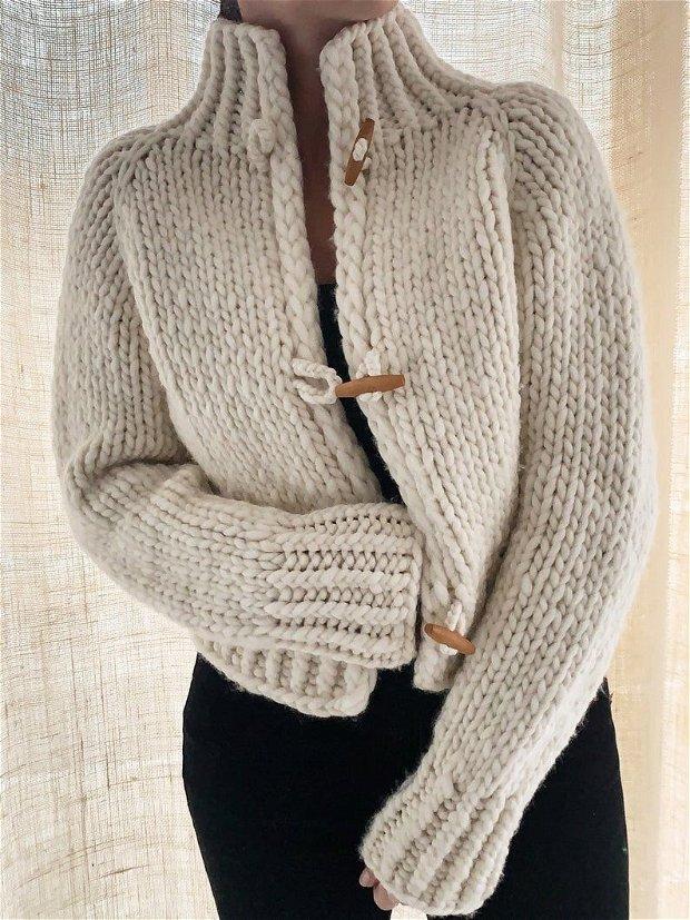 Jacheta tricotata din lana merino