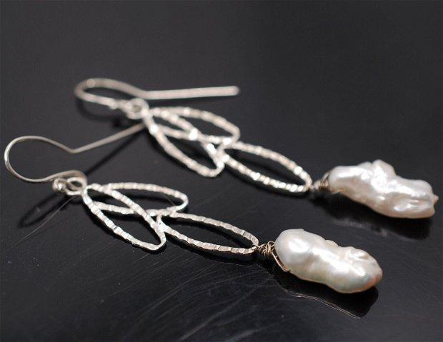 Cercei din argint si perla de cultura, cercei lungi argint, cercei statement, cercei handmade