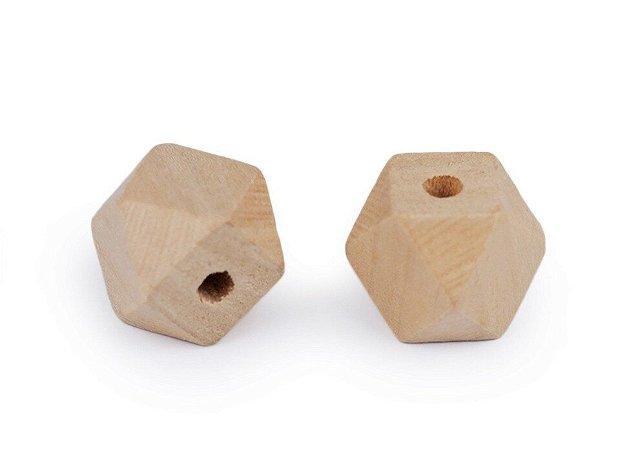 Margele din lemn natur 15 mm, 10 buc/set- 340130