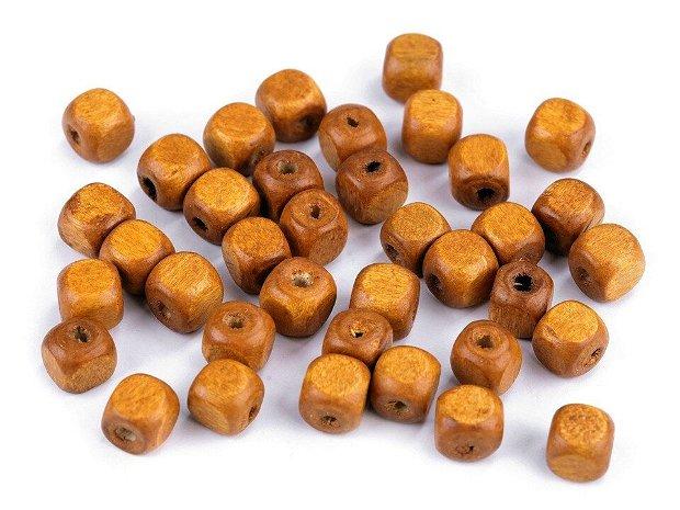 Mărgele cubice din lemn, 8x8 mm, 10gr/set-  340166