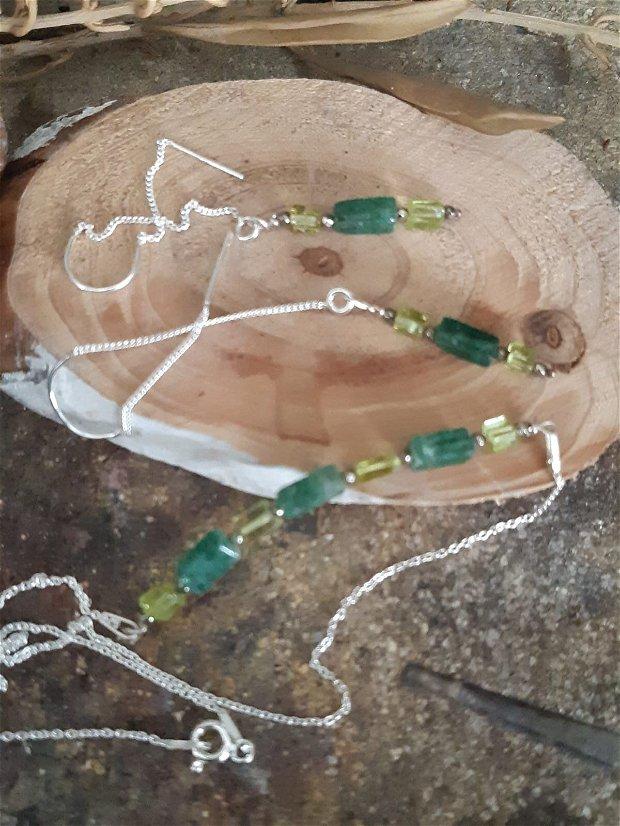 Colier din argint 925, pirita, onix verde si peridot