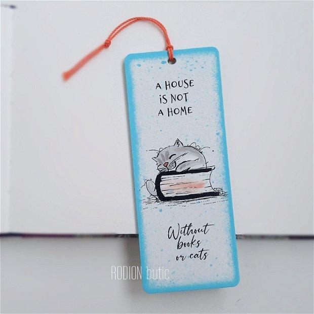 Semn de carte pisicuta pictat manual personalizat cu text