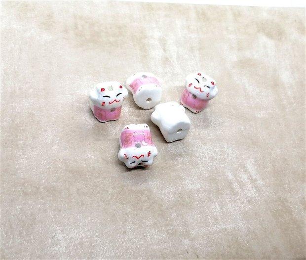 Pisica ceramica pictata margele 15.5mm roz
