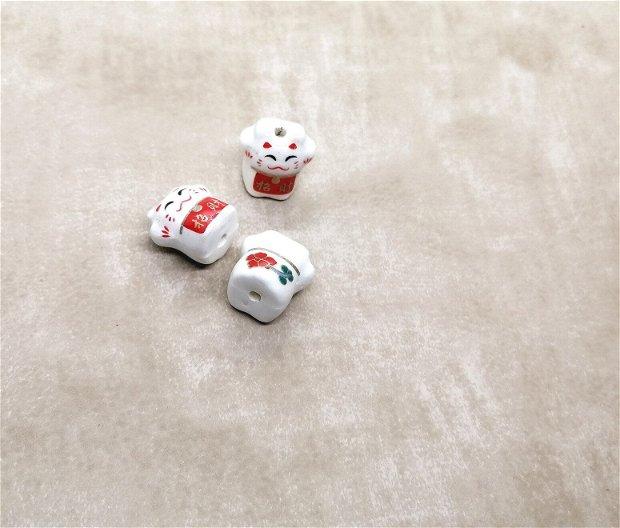 Pisica ceramica pictata margele 16mm rosu