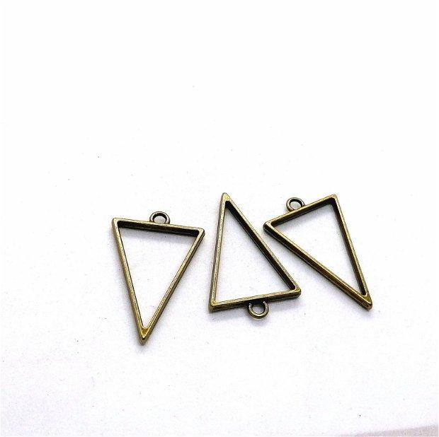 Rama pandant metal bronz antichizat * triunghi 25x39mm