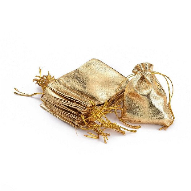 Saculet organza auriu mat 9x7cm