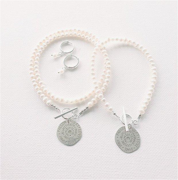Colier perle naturale si charm din argint