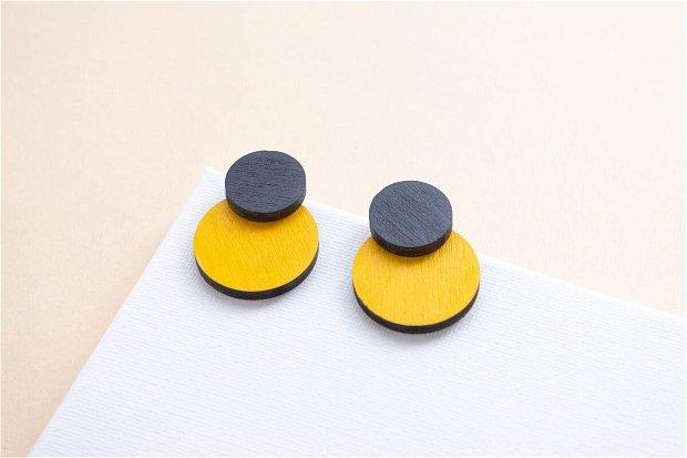 Cercei Simplitate Galben-Negru