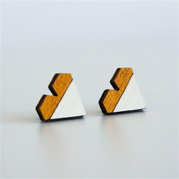 Cercei Geometric Design, Inima, Auriu/Alb