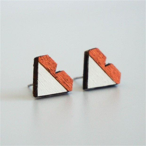 Cercei Geometric Design, Inima, Rose/Alb