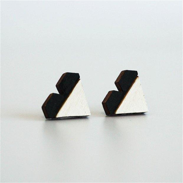Cercei Geometric Design, Inima, Negru/Alb