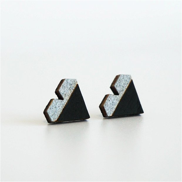 Cercei Geometric Design, Inima, Argintiu/Negru