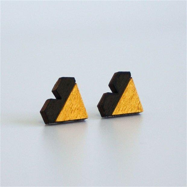 Cercei Geometric Design, Inima, Negru/Auriu