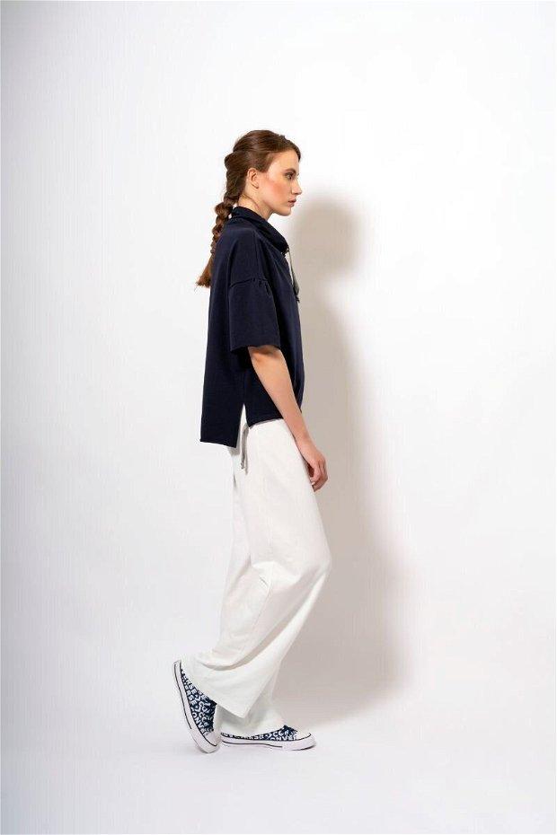 Pantaloni Largi Pearl White