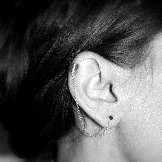Cercei cubulete cu earcuff