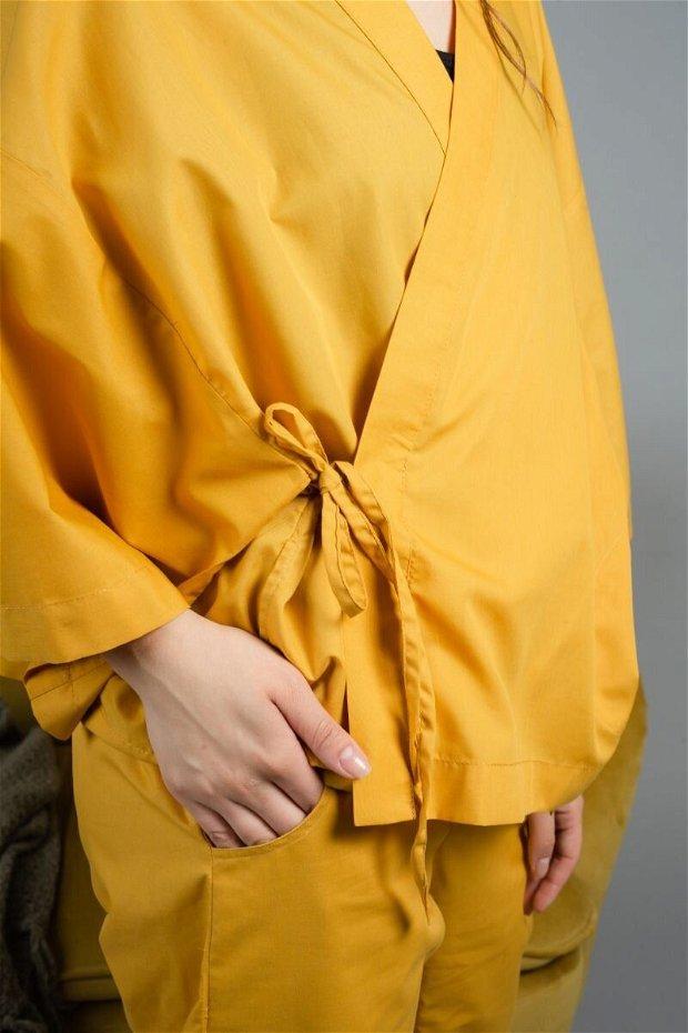 Meraki Kimono Set Mustar Galben