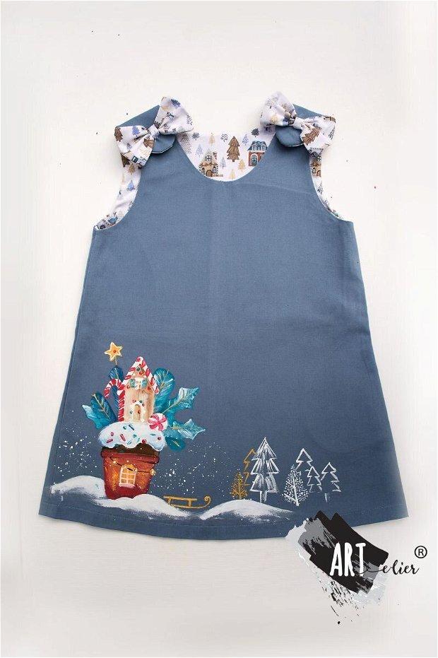 Sarafan bumbac pentru copii - albastru senin cu ilustratie craciuneasca